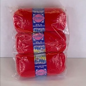 Lot 3 skeins Promise acrylic yarn red  3 oz  each